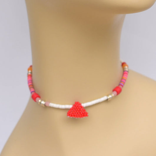 White and Pink Beaded Choker with Red Beaded Pendant