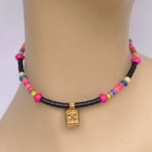 Black and Pink Beaded Choker with Brass Pendant102