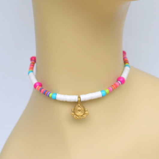 White, Pink, and Teal Beaded Choker with Brass Pendant