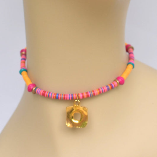 Orange and Pink Beaded Choker with Gold Square Pendant