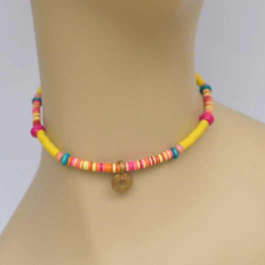 Pink, Orange, Yellow, and Blue Beaded Choker with Small Brass Pendant