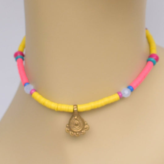 Yellow and Pink Beaded Choker with Brass Pendant
