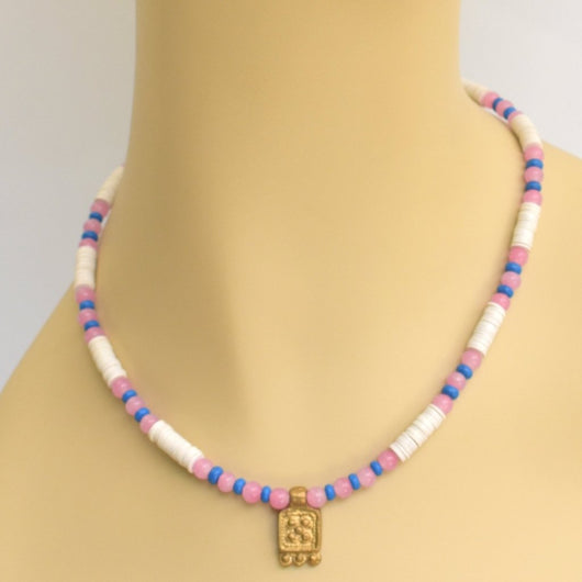 Pink, White, and Blue Beaded Choker with Brass Pendant