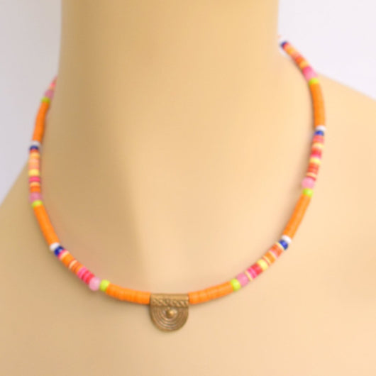 Orange Beaded Choker with Brass Pendant