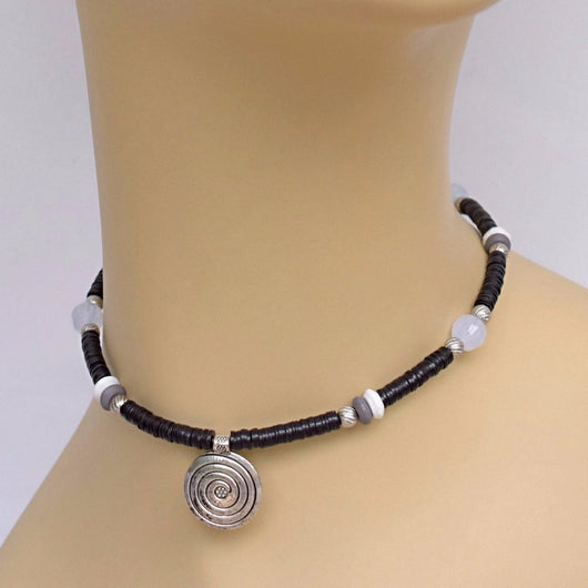 Black Beaded Choker with Silver Spiral Pendant