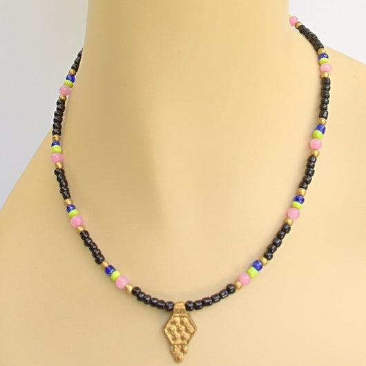 Black, Pink, Lime, and Cobalt Beaded Choker with Gold Accents and Pendant
