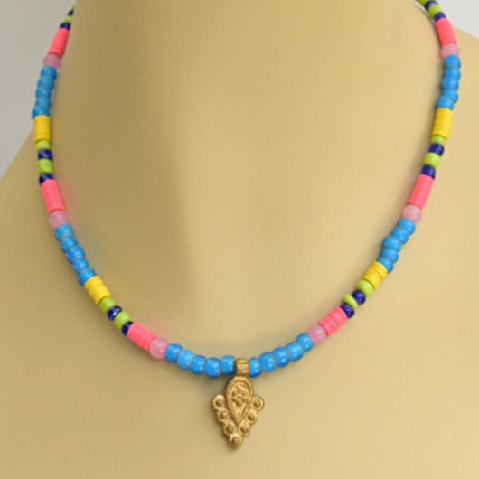 Blue, Yellow, Pink, and Green Beaded Choker with Brass Pendant