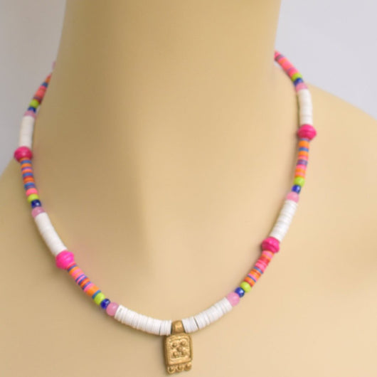 White and Pink Beaded Choker with Brass Pendant