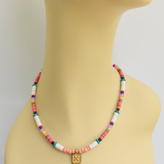 Pinkish Multi-color Beaded Choker with Brass Pendant