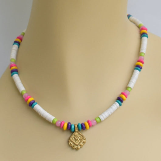 White and Multicolor Beaded Choker with Brass Pendant