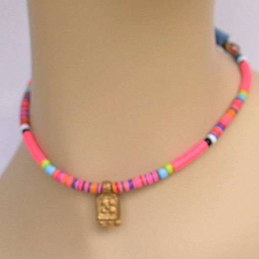 Bright Multi-color Beaded Choker with Brass Pendant