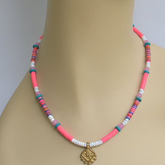 Pink, White, and Teal Beaded Choker with Brass Pendant