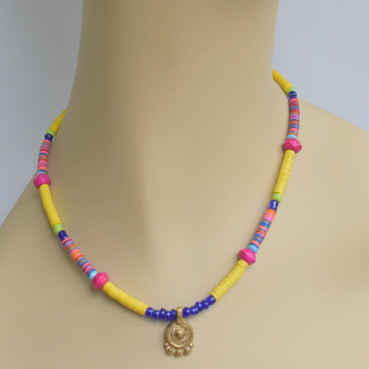 Yellow, Pink, and Cobalt Beaded Choker with Brass Pendant