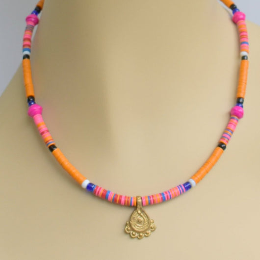 Orange, Pink, and Blue Beaded Choker with Gold Pendant