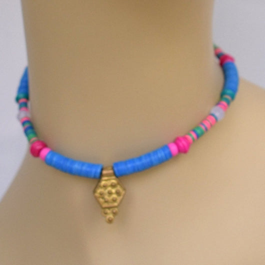 Blue and Pink Beaded Choker with Gold Pendant202