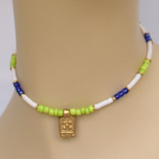 Blue, Lime, and White Beaded Choker with Gold Accents and Brass Pendant