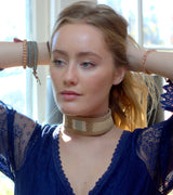 Tan Suede and Blue Leather Choker with Natural And White and Braid Trim