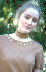 Tan Suede Choker with Brocade Trim