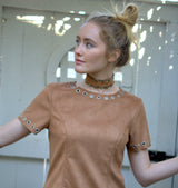 Brown Suede Choker with Brocade Trim