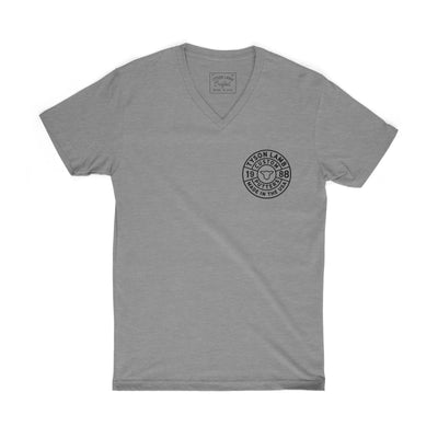 Quadrant Logo V-Neck Tee-Heather Gray