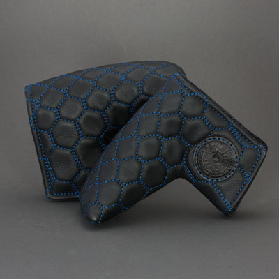 Black/Blue Hex Quilted Leather Putter Cover ***LIMIT 1***