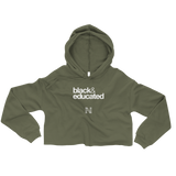 black & educated Crop Hoodie