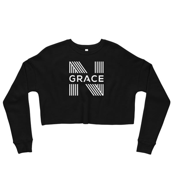 noir grace signature logo Crop Crewneck