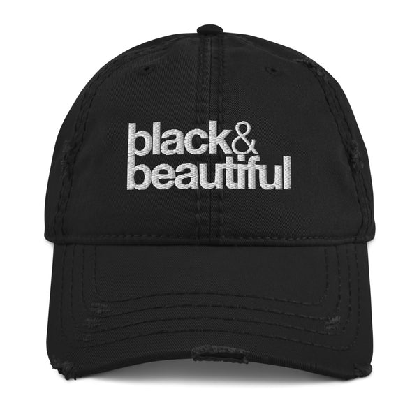 black & beautiful Distressed Dad Hat