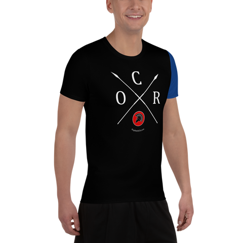 Obstacle Course Racing Tech T-shirt, blue sleeve -  - Hoplite-Outfitters - Training, Racing and Recovery Gear