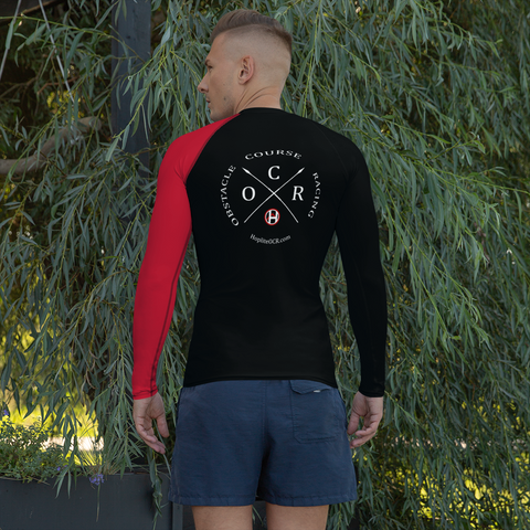 Obstacle Course Racing Fitted Performance Long Sleeve, red left sleeve