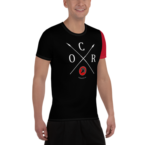 Obstacle Course Racing Tech Shirt, Red Sleeve -  - Hoplite-Outfitters - Training, Racing and Recovery Gear