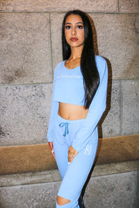 MS Blue Wavy Crop Top Tracksuit