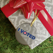 "Load image into Gallery viewer, America's ""I Voted"" Glass Christmas Ornament"