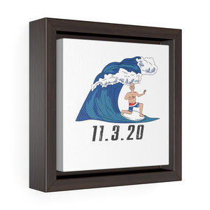 Biden Blue Wave Square Framed Premium Gallery Wrap Canvas