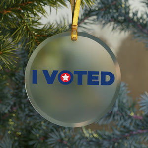 "America's ""I Voted"" Glass Christmas Ornament"