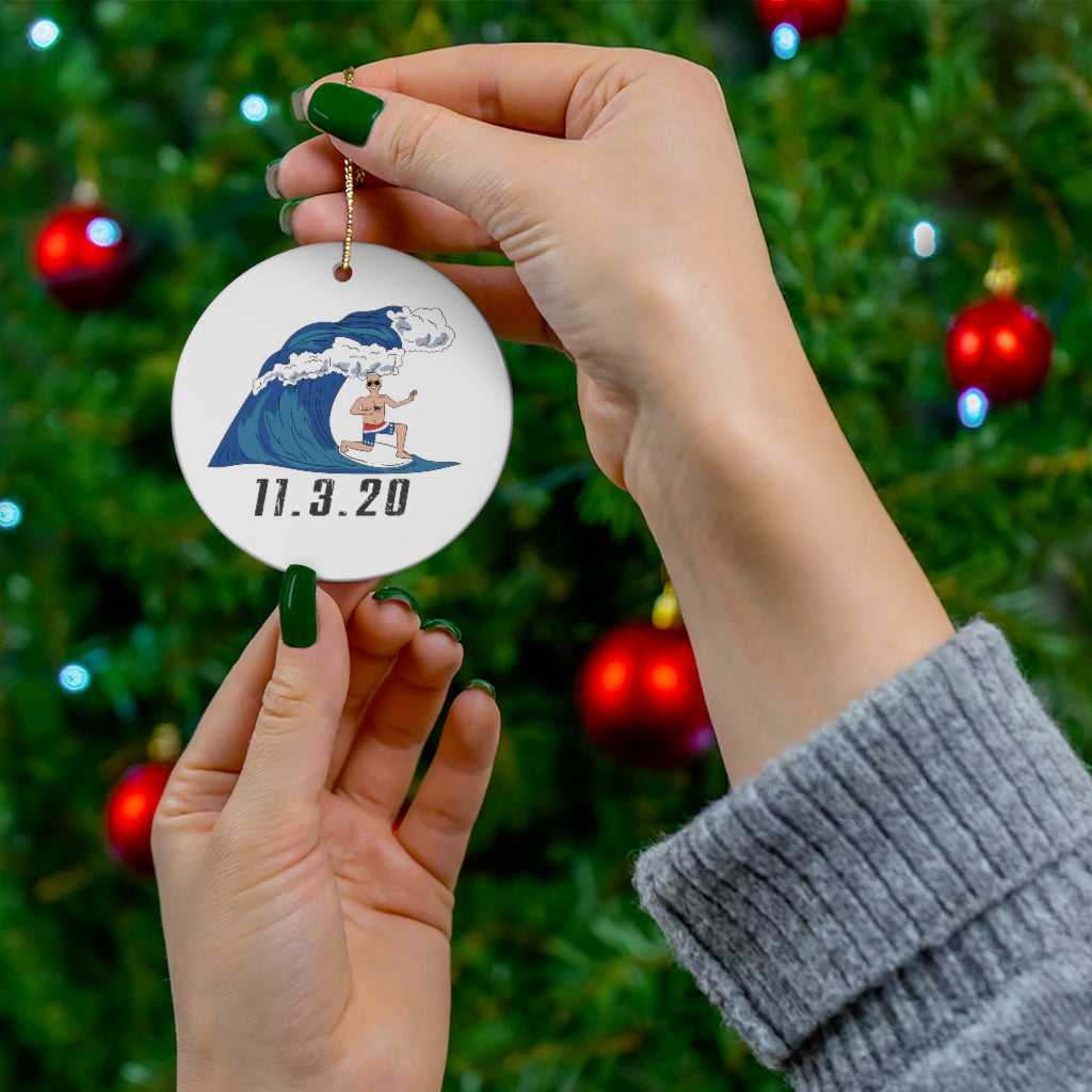 Biden 2020 Blue Wave Surfing Christmas Ornament