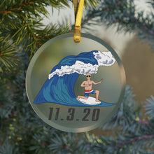 Load image into Gallery viewer, Biden's Blue Wave Glass Christmas Ornament