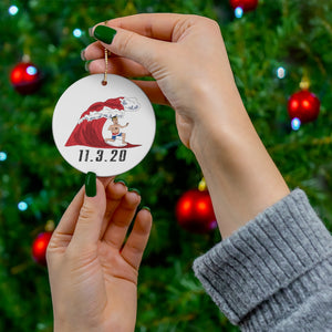 Trump's 2020 Red Wave Surfing Christmas Ornament
