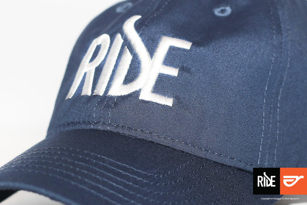 Ride Logo on Blue Baseball Cap