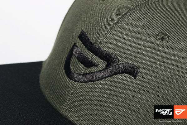 Black Logo on our Army Green and Black Snapback
