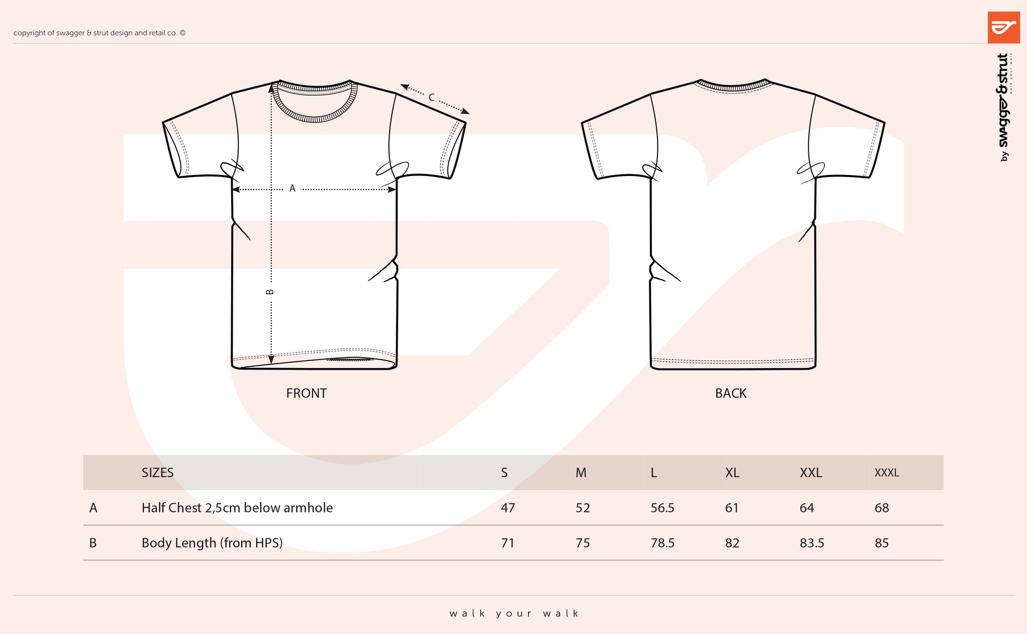 Our Standard Tee Size Chart Measurements Swagger Strut Apparel