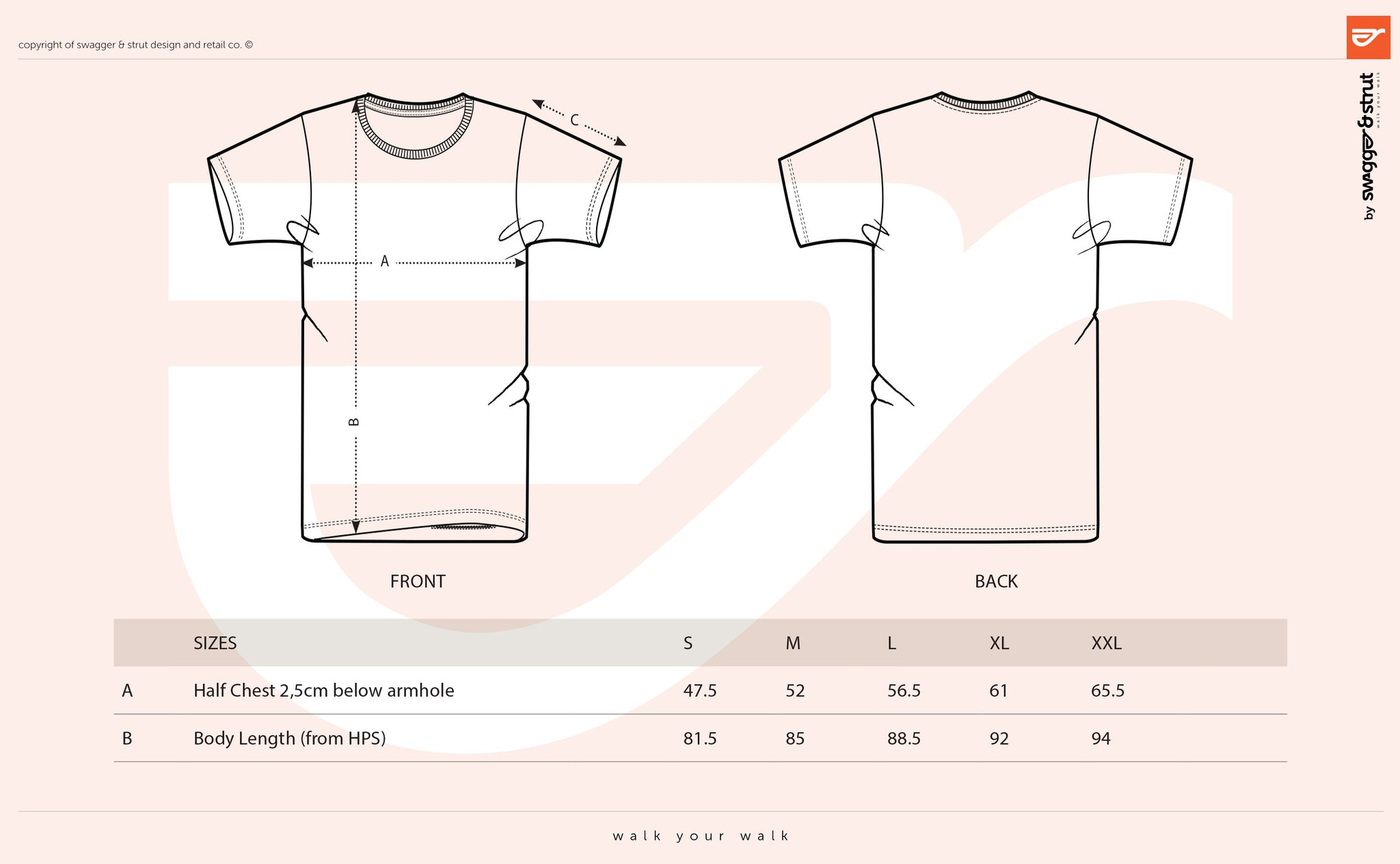 OUR TALL TEE Size Chart Measurements Swagger Strut Apparel - T shirt design size template