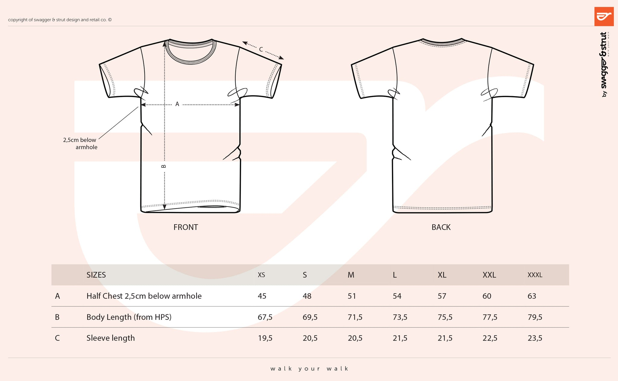 Organic Round Neck TShirt SIZE CHART MEASUREMENTS - T shirt design size template