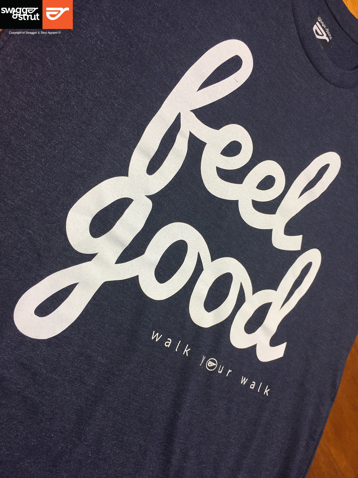 "Navy Marle - Female Slim Fit ""Feel Good"" T-Shirt"
