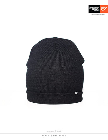 Cuffed Black Beanie simple pip logo label only