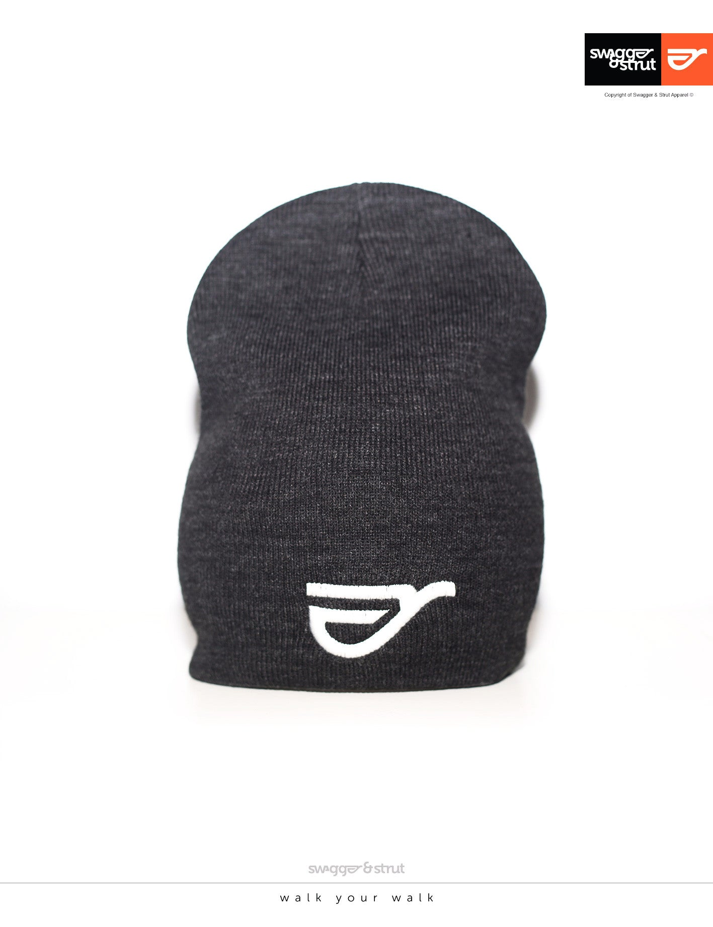 Charcoal Beanie with Swagger & Strut Embroidered logo