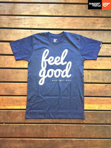 "Navy Marle - Male Slim Fit ""Feel Good"" T-Shirt"