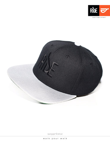 RIDE Logo Snapback - Black & Light Grey