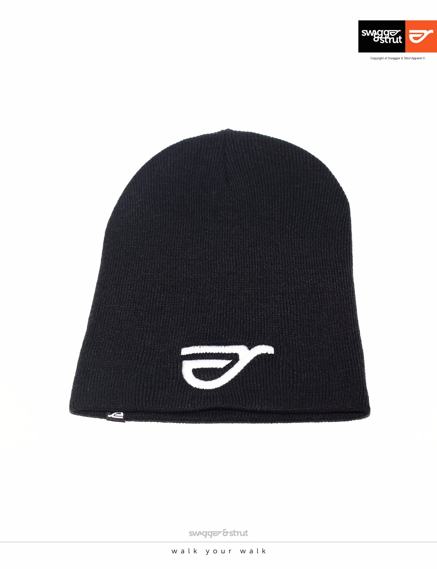 Black Beanie with Swagger & Strut Embroidered logo