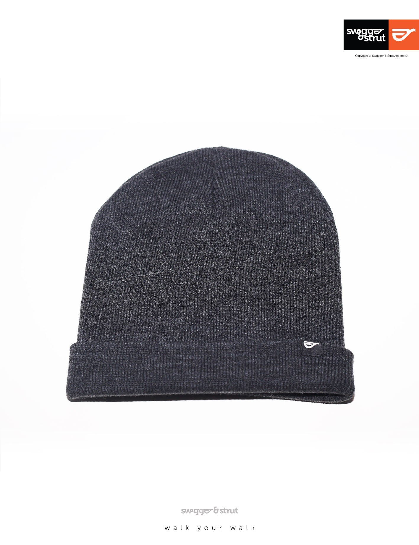 Cuffed Charcoal Beanie simple pip logo label only